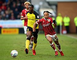 Bobby Reid of Bristol City goes past Marvin Sordell of Burton Albion - Mandatory by-line: Robbie Stephenson/JMP - 10/03/2018 - FOOTBALL - Pirelli Stadium - Burton upon Trent, England - Burton Albion v Bristol City - Sky Bet Championship