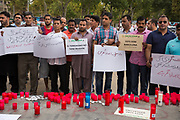 The Pakistani community in Barcelona condemns in a solemn act the attacks perpetrated by the ISIS on 17 August on the Ramblas and in Cambrils. About 200 people gathered to read a manifest that pointed as &quot;cruel and cowards&quot; the attacks, also repudiated all terrorist violence against humanity. The solidarity and sadness of this community towards the victims also became evident with messages of support and affection towards Barcelona, remembering that Barcelona is a peaceful city that went out massively to the street in a &quot;Stop the War&quot; in Iraq in 2003, a city that &quot;lives and lets live&quot;. The Prime Minister of Pakistan sent a missive conveying his deepest condolences to the innocent victims and their families, a pain that for Pakistan is known due to the many terrorist attacks that has suffered. The event was held discreetly in a central area of Barcelona, but far away from the gaze of thousands of civilians who expressed their sadness in the Rambla de Canaletes. The catalan motto &ldquo;no tinc por&rdquo; meaning &ldquo;I'm not scared&rdquo; also was between the placards in this call. <br /> Place: Jardins de les Tres Xemeneies. Date: august 19, 2017. Photo: Eva Parey/4SEE