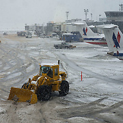 February 3, 2014 - New York, NY : Heavy machinery is used to clear snow at La Guardia airport in Queens on Monday afternoon.<br /> CREDIT: Karsten Moran for The New York Times