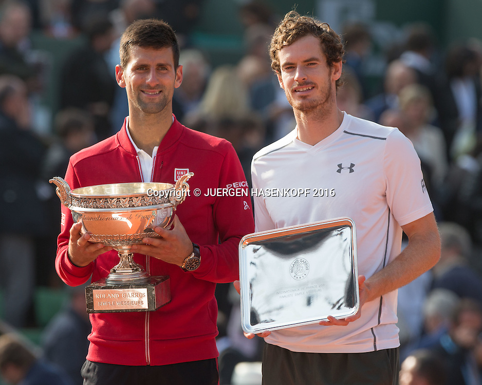 Sieger Novak Djokovic (SRB) mit Pokal, Finalist Andy Murry mit Schale,<br /> Emotion,Freude,Siegerehrung,Praesentation,Herren Finale, Endspiel,<br /> <br /> Tennis - French Open 2016 - Grand Slam ITF / ATP / WTA -  Roland Garros - Paris -  - France  - 5 June 2016.