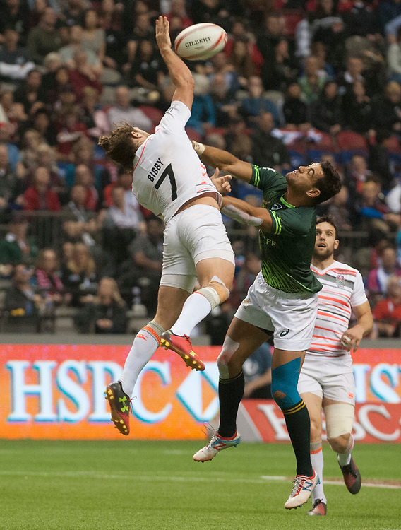 Dan Bibby wins the ball on a kick off against South Africa in the final of the Canada Sevens,  Round Six of the World Rugby HSBC Sevens Series in Vancouver, British Columbia, Sunday March 12, 2017. <br /> <br /> Jack Megaw.<br /> <br /> www.jackmegaw.com<br /> <br /> jack@jackmegaw.com<br /> @jackmegawphoto<br /> [US] +1 610.764.3094<br /> [UK] +44 07481 764811
