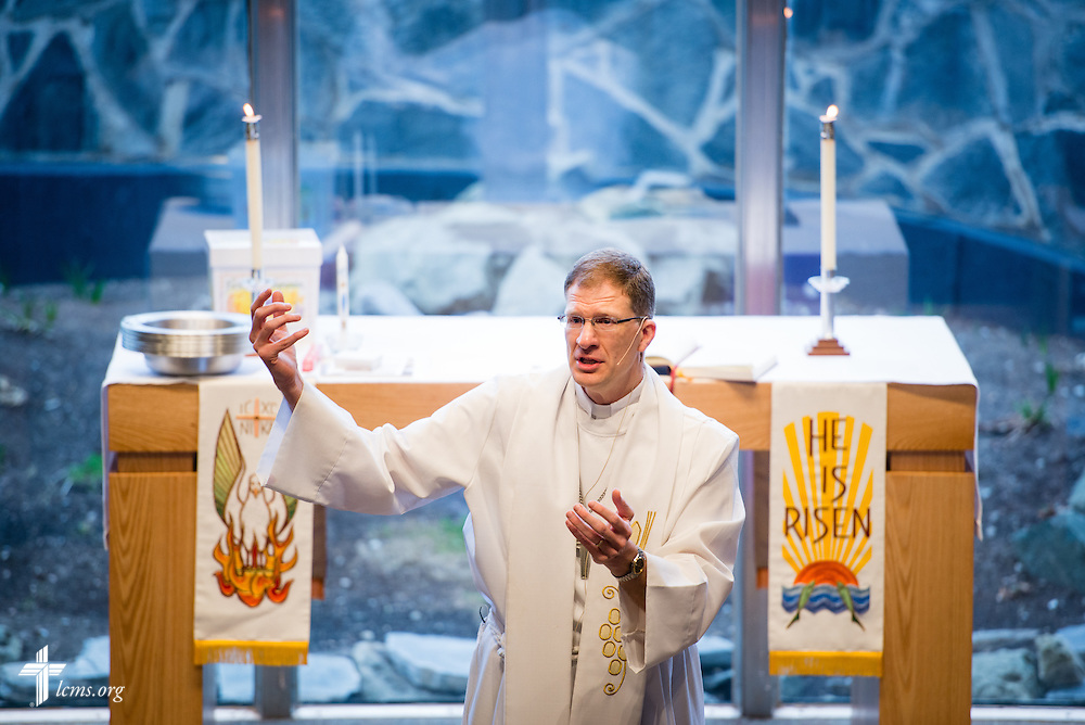 The Rev. Kenton Birtell, pastor, preaches during worship on Sunday, April 12, 2015, at Mount Calvary Lutheran Church in Holdrege, Neb. LCMS Communications/Erik M. Lunsford
