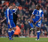 Photo: Daniel Hambury.<br />Arsenal v Cardiff City. The FA Cup. 07/01/2006.<br />Cardiff's Cameron Jerome (R) celebrates his goal.