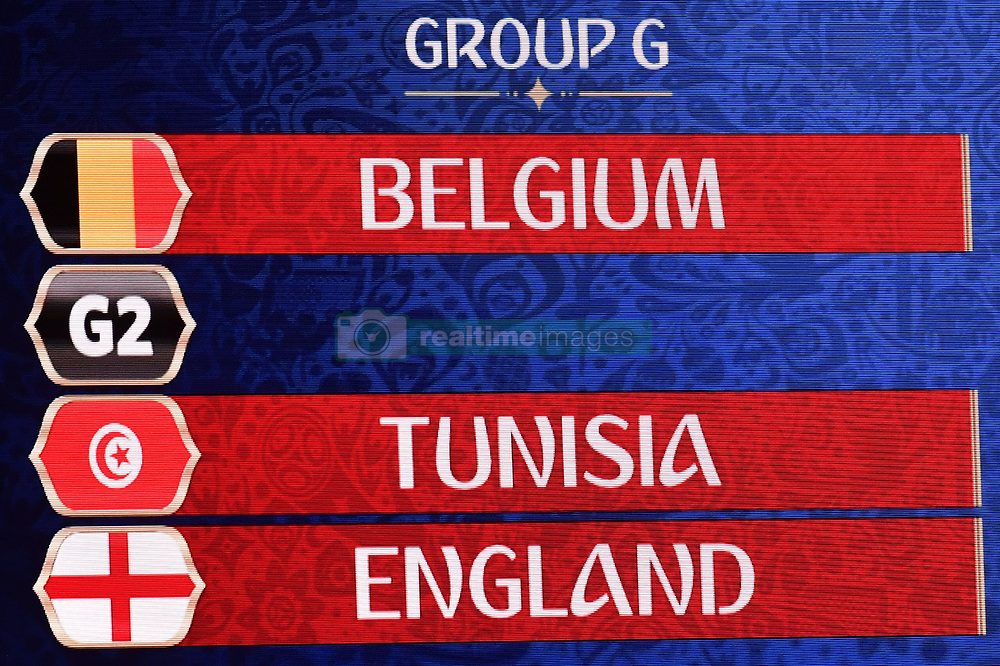 December 1, 2017 - Moscow, RUSSIA - Illustration picture shows Belgium, Tunesia and England in Group G during the draw for the 2018 World Cup soccer in Moscow, with Belgium team in pot one, Russia, Friday 01 December 2017...BELGA PHOTO DIRK WAEM (Credit Image: © Dirk Waem/Belga via ZUMA Press)