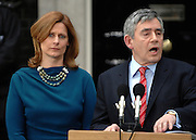 © under license to London News Pictures. 11/05/10. Gordon Brown and his wife Sarah inform the assembled media that he is to go to Buckingham Palace to offer Queen Elizabeth II his resignation as Prime Minister of Britatin. British Prime Minister Gordon Brown has resigned his position and David Cameron has become the new British Prime Minister on May 11, 2010. The Conservative and Liberal Democrats are to form a coalition government after five days of negotiation. Photo credit should read Stephen Simpson/LNP