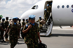 Major General Benjamin Kibiwot and other commanders after receiving the first 100 batch of Kenya Defense Forces troops from the U.N. peacekeeping mission in South Sudan arrive at JKIA on November 9, 2016. The President ordered them to withdraw in response to the sacking by UN of the Kenyan commander of the UNMISS force Lieutenant General Johnson Mogoa Kimani Ondieki.