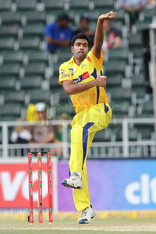 Ravichandran Ashwin of the Chennai Super Kings sends down a delivery during match 3 of the Karbonn Smart CLT20 South Africa between Sydney Sixers and  and Chennai Super Kings held at The Wanderers Stadium in Johannesburg, South Africa on the 14th October 2012..Photo by Shaun Roy/SPORTZPICS/CLT20