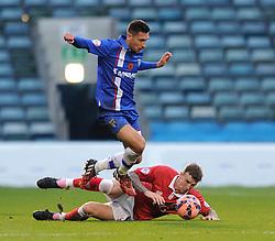 Bristol City's Aden Flint challenges Gillingham's Joe Martin - Photo mandatory by-line: Dougie Allward/JMP - Mobile: 07966 386802 - 08/11/2014 - SPORT - Football - Gillingham - Priestfield Stadium - Gillingham v Bristol City - FA Cup - Round One