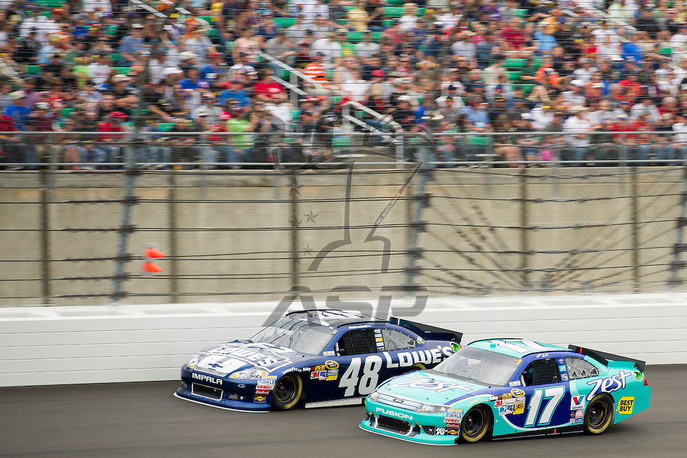 Kansas City, KS - OCT 21, 2012:  The NASCAR Sprint Cup Series teams take to the track for the Hollywood Casino 400 at Kansas Speedway in Kansas City, KS.