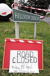 Orpington, UK  29/04/2011. The Royal Wedding of HRH Prince William to Kate Middleton..Road Closed for Street Party at 2pm.Hillview Crescent, Orpington..Photo credit should read Grant Falvey/LNP. Please see special instructions. © under license to London News Pictures
