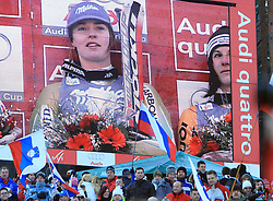 Slovenian fans listen to the Slovenian hymn when First placed after second run Tina Maze of Slovenia at Maribor women giant slalom race of Audi FIS Ski World Cup 2008-09, in Maribor, Slovenia, on January 10, 2009. (Photo by Vid Ponikvar / Sportida)