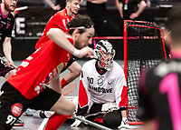 2019-04-27 |Stockholm | Storvreta goalie (80) Viktor Klintsten during the game between Storvreta IBK and IBF Falun at Ericsson Globe Arena. (Photo by Daniel Carlstedt | Swe Press Photo).