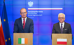 October 3, 2018 - Warsaw, Poland - Minister for Foreign Affairs and Trade of Ireland Simon Coveney and Minister of Foreign Affairs of Poland Jacek Czaputowicz during the press conference at Ministry in Warsaw, Poland on 3 October 2018  (Credit Image: © Mateusz Wlodarczyk/NurPhoto/ZUMA Press)