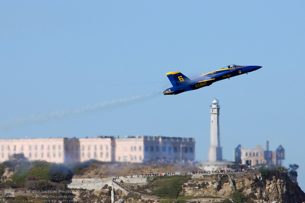Blue Angels conduct a criss-cross maneuver in front of Alcatraz at the 2007 Fleet Week Performance In San Francisco