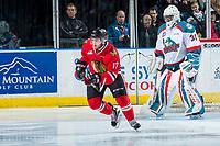 KELOWNA, CANADA - APRIL 14: Alex Overhardt #17 of the Portland Winterhawks skates against the Kelowna Rockets on April 14, 2017 at Prospera Place in Kelowna, British Columbia, Canada.  (Photo by Marissa Baecker/Shoot the Breeze)  *** Local Caption ***
