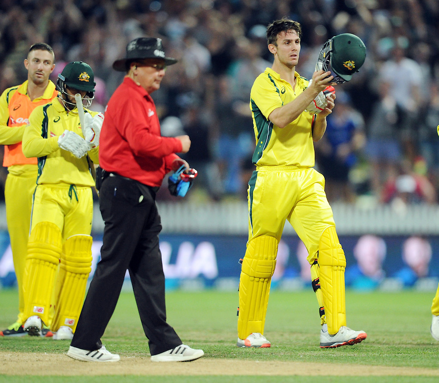 Australia's Mitchell Marsh out for 41 from a caught and bowled by New Zealand's Matt Henry after a video call from the third umpire and given out by Umpire Ian Gould in the 3nd One Day International Cricket match at Seddon Park, Hamilton, New Zealand, Monday, February 08, 2016. Credit:SNPA / Ross Setford