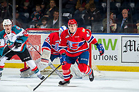 KELOWNA, BC - MARCH 13: Leif Mattson #28 of the Kelowna Rockets calls for the puck as Egor Arbuzov #42 of the Spokane Chiefs skates to block the pass at Prospera Place on March 13, 2019 in Kelowna, Canada. (Photo by Marissa Baecker/Getty Images)