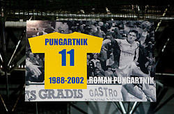 Poster of Roman Pungartnik during ceremony after the handball match between RK Celje Pivovarna Lasko and Trimo Trebnje of last Round of 1st Slovenian Handball league, on May 27, 2011 in Arena Zlatorog, Celje, Slovenia. Celje defeated Trimo 32-28 and win 3rd place in Slovenian National Championship. (Photo By Vid Ponikvar / Sportida.com)