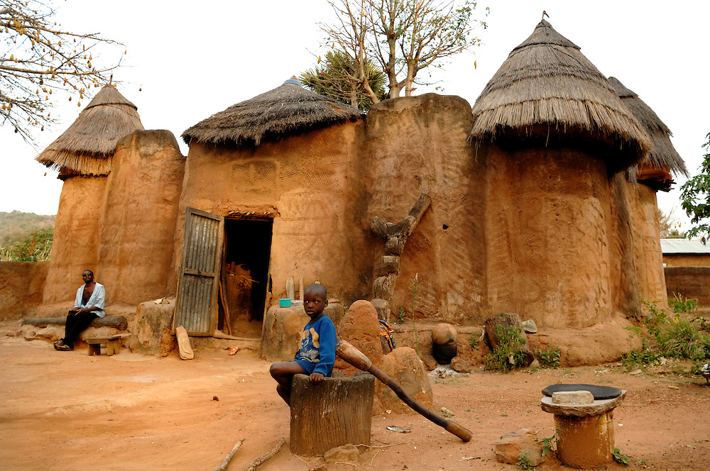 Benin - Natitingou November 30, 2006 - Tata Somba architectural style and the lifestyle and religion of the Tembera culture.
