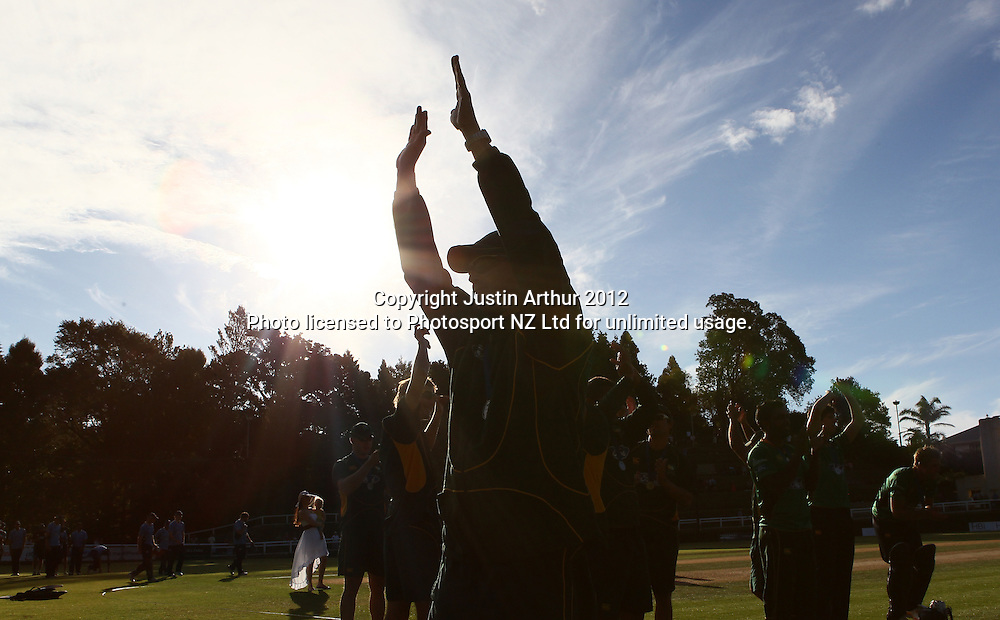 Stags players celebrate winning the Ford Trophy. Ford Trophy Final - Men's domestic one day cricket, Central Stags v Auckland Aces, Pukekura Park, New Plymouth, New Zealand on Sunday 12 February 2012. Photo: Justin Arthur / Photosport.co.nz