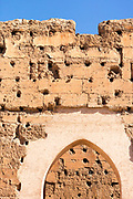 El Badi Palace Architecture, Marrakesh, Morocco, 2016–04-21.<br /><br />The El Badi Palace and sunken gardens are a short walk from Bahia, within the old, towering Medina walls of the Mellah. <br /> <br /> Commissioned by the Arab Saadian sultan Ahmad-al-Mansur and completed in 1593, the complex took 25 years to build and is considered to be some of the finest examples of Saadian architecture in Moroco. <br /> A ruined palace, the site is often being renovated and restored, but remains to be many peoples favourite Marrakesh palace experience.