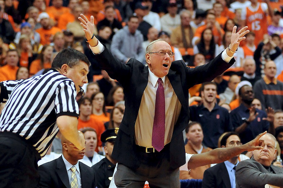 19 December 2009: Syracuse Jim Boeheim argues with the officials following a second half non call gave St, Bonaventure the ball. Syracuse defeated St. Bonaventure 85-72 in a physical game at the Carrier Dome in Syracuse, NY..Mandatory Credit: Michael Johnson / Southcreek Global