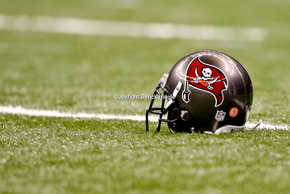 November 6, 2011; New Orleans, LA, USA; A detail view of a Tampa Bay Buccaneers player helmet prior to kickoff of a game against the New Orleans Saints at the Mercedes-Benz Superdome. Mandatory Credit: Derick E. Hingle-US PRESSWIRE