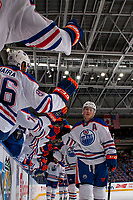 PENTICTON, CANADA - SEPTEMBER 9: The Edmonton Oilers celebrate a goal against the Winnipeg Jets on September 9, 2017 at the South Okanagan Event Centre in Penticton, British Columbia, Canada.  (Photo by Marissa Baecker/Shoot the Breeze)  *** Local Caption ***