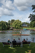 "Maidenhead, United Kingdom.  ""Single"", with spectators looking on, ""Thames Punting Club Regatta"", Bray Reach.<br />