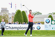 Michael Carrick after his first tee shot on the 1st hole during the Celebrity Pro-Am day at Wentworth Club, Virginia Water, United Kingdom on 23 May 2018. Picture by Phil Duncan.