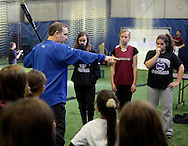 Chester, New York - Former New York Mets baseball star player Howard Johnson talks to young softball players at the first anniversary open house celebration at The Rock Sports Park on Nov. 12, 2011.