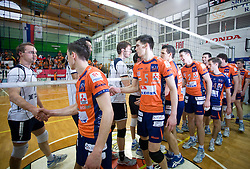 Andrej Kovacic and Matija Plesko after last final volleyball match between OK ACH Volley and Salonit Anhovo, on April 21, 2009, in Arena SGS Radovljica, Slovenia. ACH Volley won the match 3:0 and became Slovenian Champion. (Photo by Vid Ponikvar / Sportida)