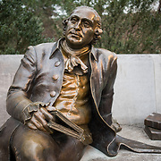 The statue of George Mason (1725-1792) in the George Mason Memorial near the Tidal Basin in Washington DC. Mason is often credited as the father of the U.S. Bill of Rights.