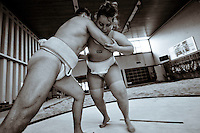 Training. Giuletta and Marc, president of the Swiss sumo federation