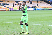 Forest Green Rovers Reece Brown(10) applauds the fans at the end of the match during the EFL Sky Bet League 2 match between Port Vale and Forest Green Rovers at Vale Park, Burslem, England on 23 March 2019.