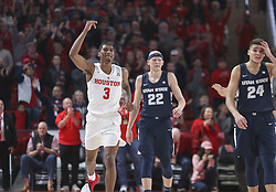 December 20, 2018 - Houston, TX, USA - Houston Cougars guard Armoni Brooks (3) gestures to the crowd after Houston came from behind to defeat Utah State, 60-50, during an NCAA men's basketball game on Thursday, Dec. 20, 2018 in Houston, TX. (Credit Image: © Scott Coleman/ZUMA Wire)