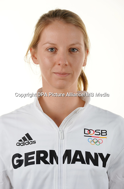 Neele Koch poses at a photocall during the preparations for the Olympic Games in Rio at the Emmich Cambrai Barracks in Hanover, Germany. July 04, 2016. Photo credit: Frank May/ picture alliance. | usage worldwide