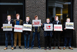 © Licensed to London News Pictures. 12/05/2017. London, UK. Conservative party activists wearing masks depicting Tim Farron and Nicola Sturgeon await Jeremy Corbyn, leader of the Labour Party, to arrive at Chatham House to give a speech on Labour's defence and foreign policy priorities.   Photo credit : Stephen Chung/LNP