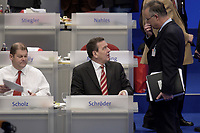 17 NOV 2003, BOCHUM/GERMANY:<br /> Olaf Scholz (L), SPD Generalsekretaer, und Gerhard Schroeder (M), SPD, Bundeskanzler, und Hans Eichel (R), SPD, Bundesfinanzminister, im Gespraech, SPD Bundesparteitag, Ruhr-Congress-Zentrum<br /> IMAGE: 20031117-01-026<br /> KEYWORDS: Parteitag, party congress, SPD-Bundesparteitag, Gespräch, Gerhard Schröder
