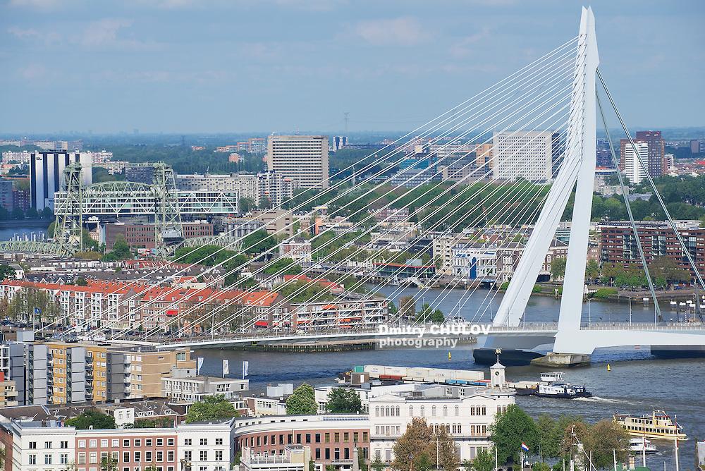 ROTTERDAM, NETHERLANDS - JUNE 02, 2013: Aerial view to Erasmus bridge and the city of Rotterdam, Netherlands.
