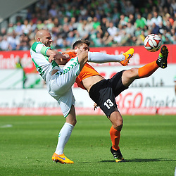 17.05.2015, Stadion am Laubenweg, Fuerth, GER, 2. FBL, SpVgg Greuther Fuerth vs SV Darmstadt 98, 33. Runde, im Bild Marco Rapp (Greuther Fuerth / links) im Zweikampf mit Ronny Koenig (SV Darmstadt 98 / rechts) // during the 2nd German Bundesliga 33th round match between SpVgg Greuther Fuerth and SV Darmstadt 98 at the Stadion am Laubenweg in Fuerth, Germany on 2015/05/17. EXPA Pictures &copy; 2015, PhotoCredit: EXPA/ Eibner-Pressefoto/ Merz<br /> <br /> *****ATTENTION - OUT of GER*****