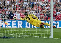 Football - 2017 / 2018 FA Cup - Semi-Final: Manchester United vs. Tottenham Hotspur<br /> <br /> Michel Vorm (Tottenham FC) flies across his goal to deflect a Manchester United effort wide of his goal at Wembley Stadium.<br /> <br /> COLORSPORT/DANIEL BEARHAM