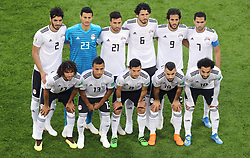 Egypt team group during the FIFA World Cup 2018, Group A match at Saint Petersburg Stadium. PRESS ASSOCIATION Photo. Picture date: Tuesday June 19, 2018. See PA story WORLDCUP Russia. Photo credit should read: Owen Humphreys/PA Wire. RESTRICTIONS: Editorial use only. No commercial use. No use with any unofficial 3rd party logos. No manipulation of images. No video emulation.