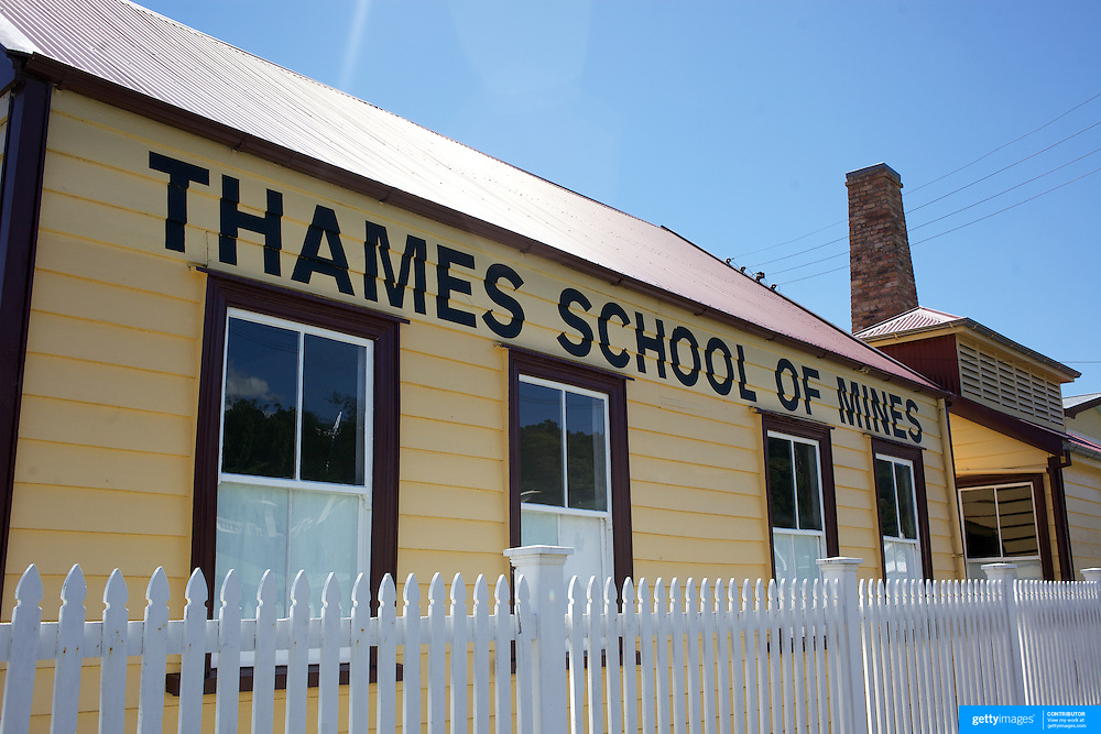 The Thames School of Mines, sited on the urupa (resting place) of Aparangi, has  great spiritual, cultural and archaeological significance as a location of an urupa (burial ground).  It is particularly important to Ngati Maru Paraone and Te Huiraukura, who gifted this tapu land to the Wesleyans for religious purposes only. In 1869 a church and Sunday School were built..Despite successful Ngati Maru opposition to a primary school on this site, there was a shift from religious instruction when the School of Mines opened in 1886. This was  one of about 30 such schools set up to stimulate economic growth in New Zealand..Other buildings were added, as needed, up and into the 20th century. Prominent among these additions was the large mineralogical museum that opened in 1901..The complex is particularly significant for its links with science and technology, still containing a large amount of equipment related to the development and teaching of mining and extraction techniques. Its well-preserved interiors demonstrate the use and appearance of educational structures prior to the twentieth century..The school closed in 1954 and the NZHPT acquired the complex in 1979..The Thames School of Mines site is nationally significant as a rare and best example of a School of Mines still open to the public.  Very few Schools of Mines buildings survive in New Zealand and, of these, the Thames complex is undoubtedly the best preserved and most authentic.. Thames. Coromandel. New Zealand. 27th November 2010.  Photo Tim Clayton.