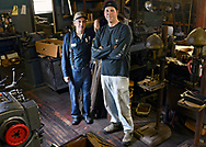 Michael Leveille, left, and Kevin Marcinkus of KM Lifestyle Manufacturing design and handcraft electrical and mechanical components for antique auto and radio collections on Wednesday, September 28, 2016. <br /> <br /> <br /> <br /> T&amp;G Staff/Christine Hochkeppel