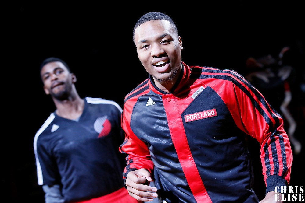 07 December 2013: Portland Trail Blazers point guard Damian Lillard (0) is seen during the players introduction prior to the Dallas Mavericks 108-106 victory over the Portland Trail Blazers at the Moda Center, Portland, Oregon, USA.