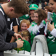 Brian O'Driscoll signing autographs for fans at he Irish team training session at The Queenstown Events Centre in preparation for the IRB Rugby World Cup. The team are based in Queenstown for the early part of the tournament.  Queenstown, New Zealand, 4th September 2011. Photo Tim Clayton..