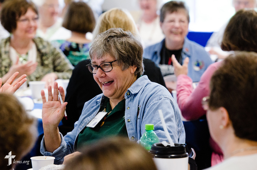 Susan Neff interacts with others during the 22nd Annual Concordia Conference for Parish Nurse and Congregational Health Ministries at Concordia University Wisconsin in Mequon, Wis., on Wednesday, May 28, 2014. LCMS Communications/Erik M. Lunsford