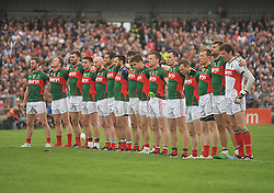Mayo team stand for the national anthem at the Connacht Final in Dr. Hyde Park on sunday.<br /> Pic Conor McKeown