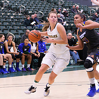 5th year guard Katie Polischuk (3) of the Regina Cougars in action during the Women's Basketball Preseason game on October 6 at Centre for Kinesiology, Health and Sport. Credit: Arthur Ward/Arthur Images